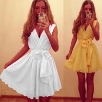 Cheap Yellow White Desses For Women V Neck Casual Dresses 2015 Summer Spring Sleeveless Sexy Women Clothing