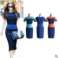 Wholesale Blue Victoria Beckham Summer Jewel Sheath Knee length Bodycon Short Sleeves Sexy Plus Size Causal Party Club Gowns Street Style Beach Dress
