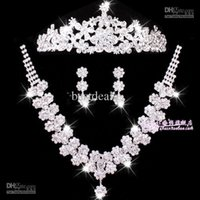 Nupcial pelo tocado collar de accesorios de la boda de tres piezas se adapte a flores de la boda de la corona earringsCPA307