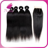 ad double - Soft Brazilian Virgin Hair Straight With Closure Peruvian Straight Hair Lace Closure Bundles With Closure Human Hair With Closure AD Hair