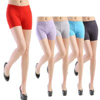 Cheap Wholesale-Fantastic Women Short Pants Sport Safety Underwear Belly Dance Tight Candy Color Leggings Safety Pants