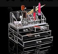 Wholesale Hot Make up tools cosmetic stand storage holder cosmetic organizer Clear makeup storage case jewelry box three layes DHL