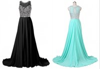 Cheap Sparkling Long Train Black Prom Dresses 2016 Crystal Beading Chiffon Evening Gown Lime Green Bridesmaid Dresses Celebrity Party Dresses