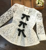 tunic tops - 2015 Spring Summer Baby Girls Lace Fashion Shirts Kids New Princess White Long Sleeve Casual Tops Hot Children Clothing Child Tunic Blouse