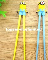 Wholesale New Cartoon Despicable me Minions Cute cartoon Connected Safe Chopsticks Children Learning Chopsticks