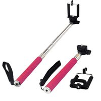 Wholesale 2015 Extendable Selfie Self Portrait Stick Handheld Monopod Wireless Bluetooth Remote Shutter Control for Android IOS Phones