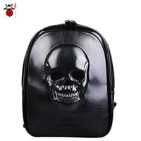 Wholesale NEW ROCK TOP PUNK COOL TOP Fashion Men women GIRL D SKULL Backpack Travelling bag D Backpack pu leather free ship
