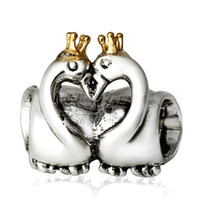 pandora jewelry - 925 Silver Charm Lover Swan With Crown European Charms Silver Beads For Pandora Snake Chain Bracelet DIY Jewelry