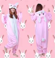 Wholesale Unisex Adult Onesie SleepwearPink Rabbit Kigurumi Pajamas Anime Cosplay Costume