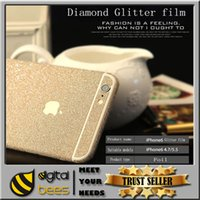 Wholesale Quyality glitter Bling Diamond Stickers for iPhone plus samsung s7 edge matte color CellPhone Full Body shield Shiny insulation sticker