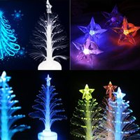 Wholesale 12cm Colors Changing Christmas Trees Night Light with Top Star Fiber Optic Night Lamp Party Wedding supplies Decoration Gift