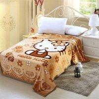 ome Blanket Têxtil Olá Kitty dos desenhos animados Anime flanela tecido Plush Primavera / Outono Jogue cobertor na cama Sofá Car Para Adultos Crianças Queen Size ...