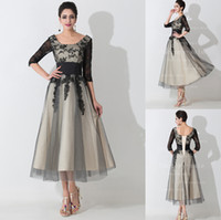 mother of the bride dresses tea length - 2015 Designer Mother of the Bride Dresses Scoop Neck Half Sleeves Black Lace Appliques Empire Mother Prom Gowns with Lace up Back BZP0471