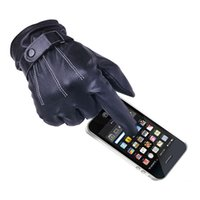 Wholesale S5Q Men Black Gloves Soft PU Leather Five Fingers Winter Warm Coral Fleece Lined Gloves Touch Screen AAAEGL