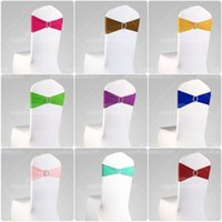 satin ribbon - Wedding chair covers rhinestone ribbon buckle with the finished product back elastic bow tie chair cover decorative