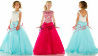 Wholesale Custom Elegant Little rosie Pageant Dresses for Girls Bateau Crystals Beads Kids Prom Dress Floor Length Zipper flower girl dress