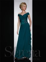 Wholesale Dark Green off Shoulder A Line Mother Of The Bride Dresses Applique Pleat Long Chiffon Formal Evening Dress Cheap Women Wedding Party Gown