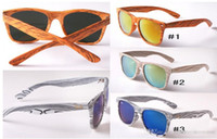 al por mayor gafas de diseño de la voga-Nueva Vogue Lentes de sol de madera niños cuadrado de la manera del deporte al aire vidrios de Sun de 3 colores