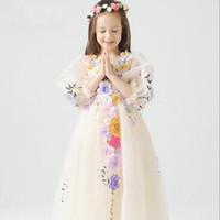 Wholesale High Quality Children Clothing Girl Flower Princess Dress Kids Show Dresses TuTu Dresses Girl Party Dress Wedding Dresses D1D653