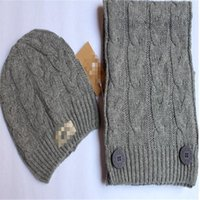 Wholesale 2014 New Autumn and Winter Caps Women Men s Wool Hat Scarf Outdoor Warm Caps and Scarf Set