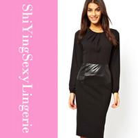 Cheap 2015 Pencil Leather Look Waist and Chiffon Top Midi Dress Women Black Dresses full sleeve autumn dress