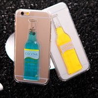 mobile case - Cocktail Bottle Case For Iphone4 Plus D Case Luminous Liquid Mobile Shell Transparent Plastic Crust Color Holiday Gifts New
