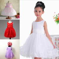 big photo stock - In Stock Flower Girls Dresses in White Red Purple Pink Fuchsia Crew Neck Appliqued Tulle Princess Dresses for Girls with Big Bow