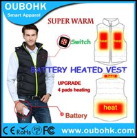 battery heated vests - Fall Battery Heated Vest Winter Warm Dress Casual Active Outdoor Quilted Waistcoat With Adjustable Rechargeable Battery OUBOHK
