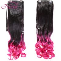 Wholesale 22inch Rose Easy Clip in Ponytail Hair Pony Wigs Hair Extensions Synthetic Ponytail Long Curly Wavy Ponytails Hairpieces Synthetic Hair