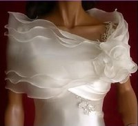 Wholesale Real Photos New Layer Ivory Bridal shawl jacket organza scarf bridal wrapped hand weaving