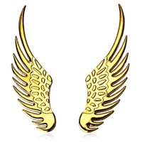 Wholesale 3D Stainless Steel wings stickers high quality eagle wings car stickers car styling HA10217