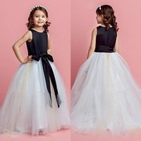black and white flower girl dresses - Daminha Vintage Black and White Cute Girls Dress For Weddings Ball Gown Flower Girls Dresses Ribbons Kids Beauty Pageant Dresses Party Dress