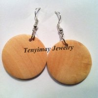 anniversary paintings - 30mm Original Color Round Shape Plain Wood Drop Earrings For Painting Pairs