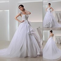 classic wedding dress - Classic Cap Sleeves Wedding Dresses Of Brides White Tulle And Organza Embroidery Beaded Ball Gown Vintage Bridal Gowns