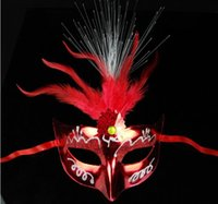 adult performers - Female Princess Feather face mask with colorful luminous feather fiber flash masquerade party performer MJ001