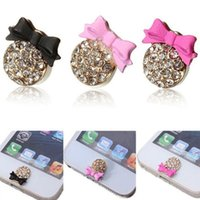 Wholesale 1PCS D Crystal Bow Bling Decor Home Button Stickers For iPhone S C S S