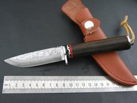 Wholesale 2015 Damascus Ebony Wood Handle Fixed blade Survival Knife Tactical hunting knife camping knife knives ODF046