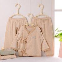 Wholesale Natural colored cotton underwear three piece baby baby undershirt boneless sewing stitching process BE103 Baby underwear m