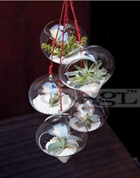 Wholesale 4PCS set onion glass hanging planters air plants terrarium for fashion home decoration