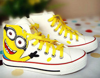 Wholesale Novelty Woman Man ankle boots shoes Hand painting Despicable Me Minions Unisex Canvas shoes Casual Sneakers