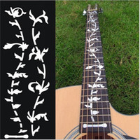 bass stickers - Novelty Design Guitar Pattern Life Tree Pair of Tree Of Life Guitar Or Bass Fretboard Inlay Sticker Silver Color Ultra Thin