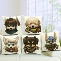 Wholesale Set Covers For Sofa Cushions - Cute Puppy Sofa Cushion Covers 45X45cm Guide Dog Lovers linen cotton Pillow Cases Throw Pillows Covers for sofa car office set decor