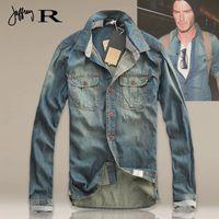 jeans xxxl - 2015 Newest Men s Slim Jeans Shirt Classical Style Vintage Denim Casual Shirts Thin Washed Blue High Quality S M L XL XXL XXXL