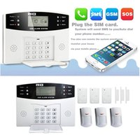 Wholesale Home Security Wireless GSM SMS Intelligent Alarm System Kit LCD Display Remote Control Household Sensors Warning Zones