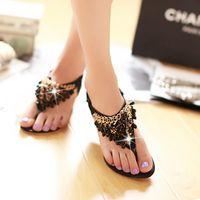 Mujeres Flip Flops Bohemio Verano Sandalias Zapatos Cristales Brillante Lujo Gema Gemelas de tacón bajo Wedge Negro Sandalias