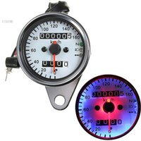 Wholesale 2015 New Arrival Universal Motorcycle Dual Odometer Speedometer Gauge LED Backlight Signal Light