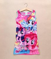 Cheap 2015 Summer New My little pony Sleeveless vest skirt Dresses princess dress pajamas Baby Clothes Kids clothing C001
