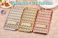 Rosa de lujo de Bling electrochapa la caja del teléfono de TPU suave silicona Claro Wave 3D, alejado para Iphone 6S 6 Plus 5.5 4.7 pulgadas piel I6S de oro rosa