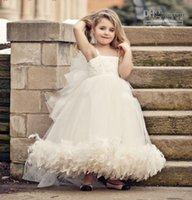 artificial flowers feather - New Lovely Vintage Tutu Flower Girl Dress Tulle Straps Artificial Feather Beaded Lace Dresses Ball Gown Popular Girls Pageant Dresses