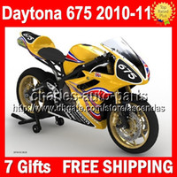 Wholesale Not race gifts Body For TRIUMPH Bodywork Daytona Q77 Daytona675 Yellow black Full Fairing Kit